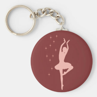 Ballerina dancer basic round button key ring