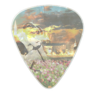 Ballerina Dancer Gold City Pink Tulips Pearl Celluloid Guitar Pick