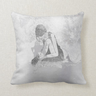 Ballerina Dancer Gray Grungy Metallic Silver Wall Cushion