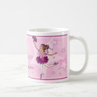 Ballerina dancing daughter pink & auburn girl mug