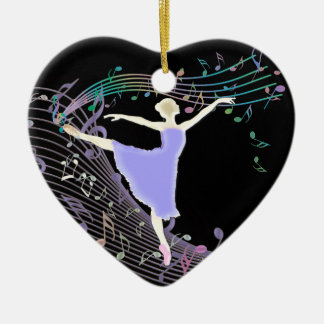 Ballerina Dancing in Fantasy Rainbow Music Notes Christmas Ornament