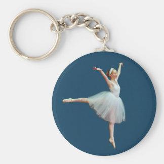Ballerina Dancing on Blue Keychain