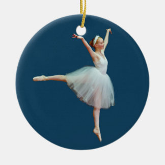 Ballerina Dancing on Blue Ornament