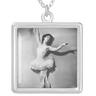 Ballerina en pointe B&W Silver Plated Necklace