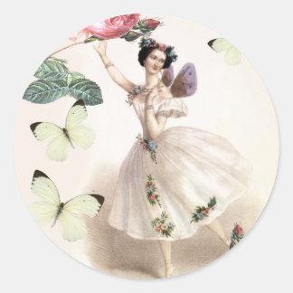 Ballerina Fairy Classic Round Sticker
