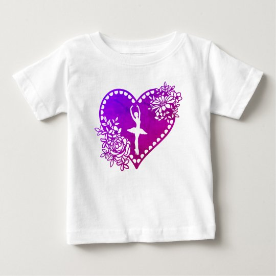 Ballerina Floral Heart Baby Toddler T-Shirt