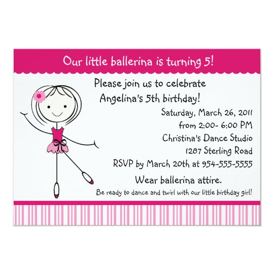 Ballerina Girl Birthday Invitation