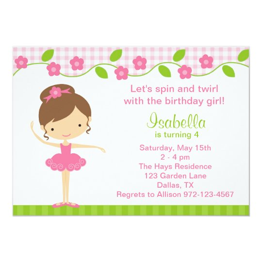 Ballerina Girl Birthday Party Invitations