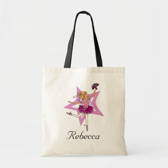 "Ballerina girl blonde ""name"" pink ballet bag"