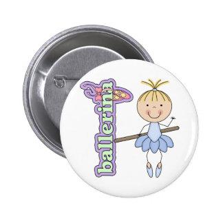 Ballerina Girl Blue 6 Cm Round Badge