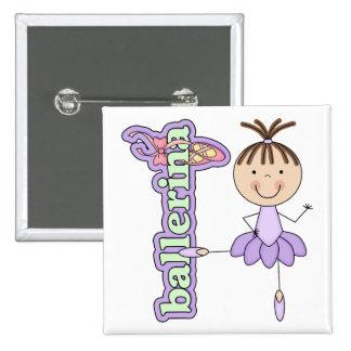 Ballerina Girl Lavender 15 Cm Square Badge