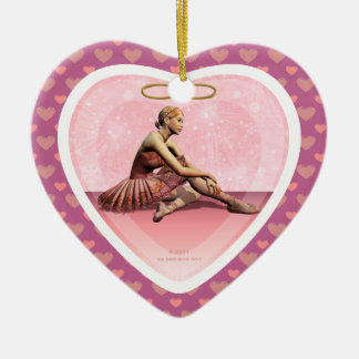 Ballerina Girl Merry Christmas Heart Ornament