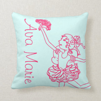 Ballerina girl pink aqua name daughter pillow