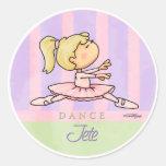 Ballerina Girl Round Sticker