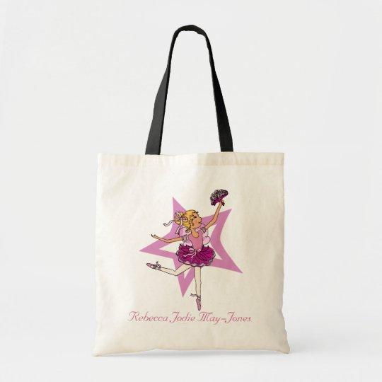 Ballerina girls personalised name pink ballet bag