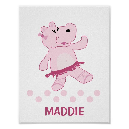 Ballerina Hippo in Tutu Personalised Art Print