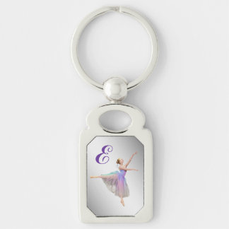 Ballerina in Arabesque Customizable Monogram Silver-Colored Rectangle Key Ring