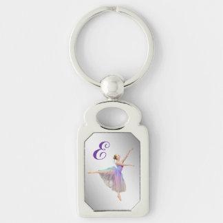 Ballerina in Arabesque Customizable Monogram Silver-Colored Rectangle Key Ring