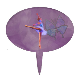 Ballerina in Arabesque Position in Purple and Blue Cake Topper