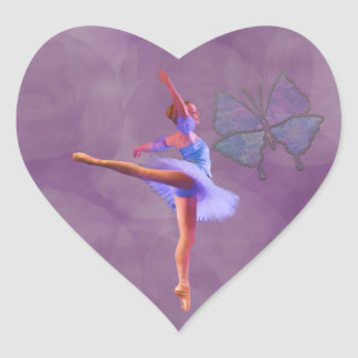 Ballerina in Arabesque Position in Purple and Blue Heart Sticker
