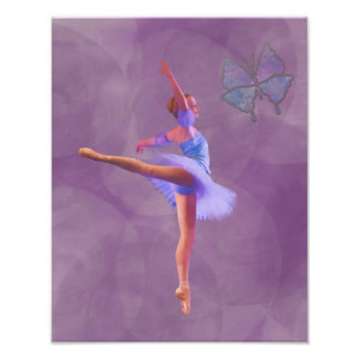 Ballerina in Arabesque Position in Purple and Blue Photo Print