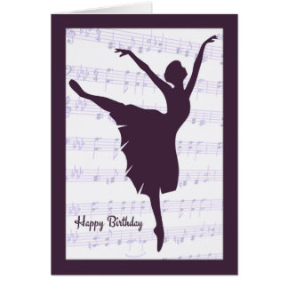 Ballerina in front of Sheet Music Birthday Card