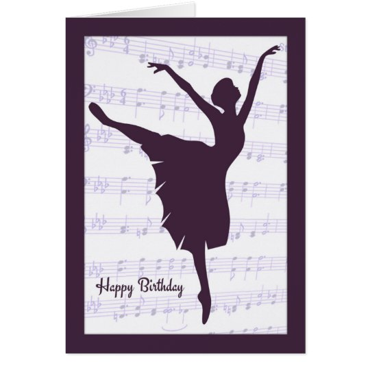 Ballerina in front of Sheet Music Birthday Card