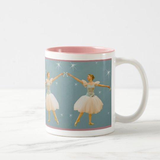 Ballerina in Green and White Two-Tone Coffee Mug