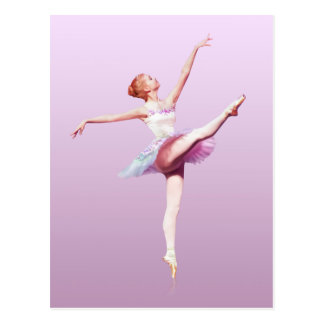 Ballerina in Pink and Lavender, Monogram Postcard