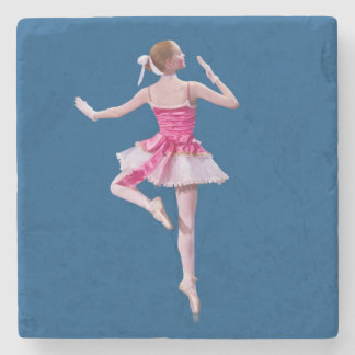 Ballerina in Pink and White Stone Coaster