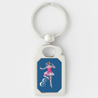 Ballerina in Pink and White with Monogram Silver-Colored Rectangle Key Ring