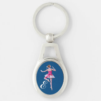 Ballerina in Pink and White with Monogram Silver-Colored Oval Metal Keychain