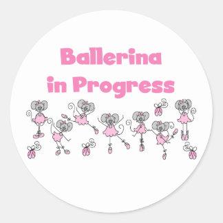 Ballerina in Progress T-shirts and Gifts Round Sticker