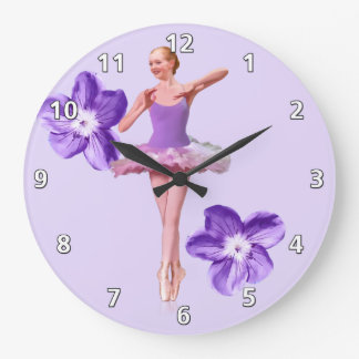 Ballerina in Purple and White Large Clock