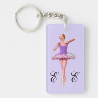 Ballerina in Purple and White with Monogram Double-Sided Rectangular Acrylic Key Ring
