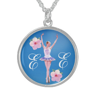 Ballerina in Purple and White with Monogram Sterling Silver Necklace