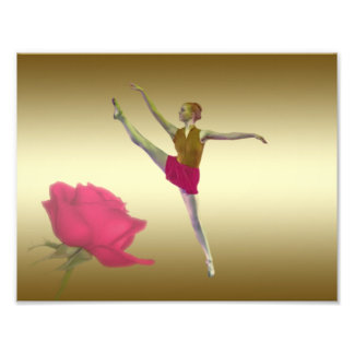 Ballerina in Red and Gold with Red Rose Photo