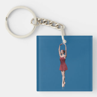 Ballerina in Red , En Pointe Position Double-Sided Square Acrylic Key Ring