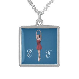 Ballerina in Red En Pointe Position Monogram Jewelry