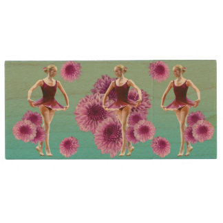 Ballerina in Red with Chrysanthemums Wood USB 2.0 Flash Drive