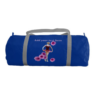 Ballerina in Red with Chrysanthemums, Text Gym Duffel Bag