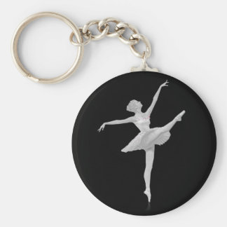 Ballerina in Silver and Black Customizable Key Ring