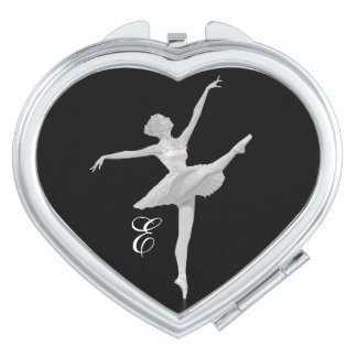 Ballerina in Silver and Black, Monogram Travel Mirror