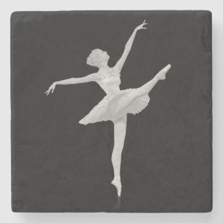 Ballerina in Silver and Black Stone Coaster