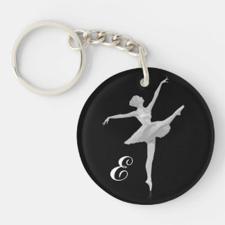 Ballerina in Silver and Black with Monogram Single-Sided Round Acrylic Key Ring