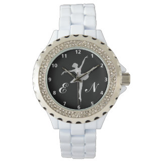 Ballerina in Silver on Black with Monogram Watch