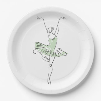 Ballerina in Soft Green Paper Plate