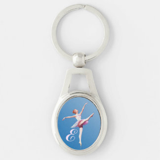 Ballerina in White, Blue,  and Pink, Monogram Silver-Colored Oval Key Ring