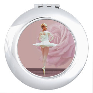 Ballerina in White with Pink Rose Customizable Compact Mirrors
