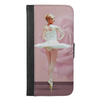 Ballerina in White with Pink Rose iPhone 6/6s Plus Wallet Case